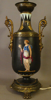 Antique 19thC Victorian SERVENT LADY PAINTING PORCELAIN URN Vase LAMP LION BUST