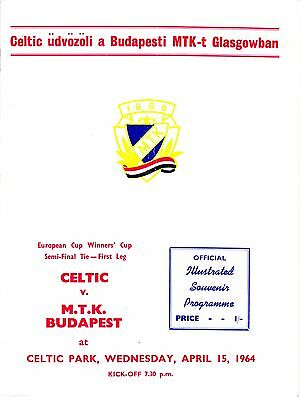 CELTIC v MTK Budapest, 15th April 1964, Euro Cup Winners Cup semi final 1st leg