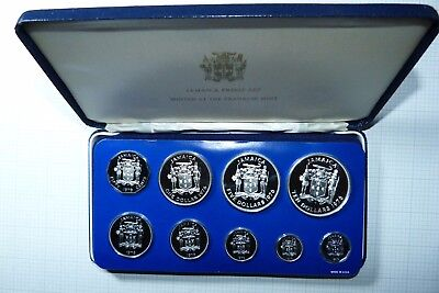 1976 Jamaica Sterling Silver $10 in 9 Coin Proof  Set Leather Cased