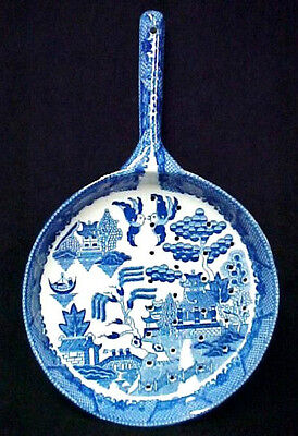 Blue Willow Strainer Porcelain China Drainer Frying Pan Colander Utensil Lg.