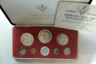 1975 Cayman Islands Sterling Silver $5 $2 $1 in 8 Coin Proof Set Leather Cased