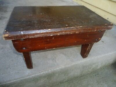 vintage wooden bench / foot stool    , child's size solid wood farm house