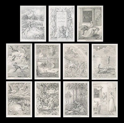 Set 11 ANTIQUE *1911* prints : Peter Pan PETER AND WENDY F.D.Bedford J.M.BARRIE