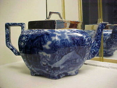 Rare Antique 1890's Flow Blue Teapot w Girl Feeding Cows & Other Scenes - Signed