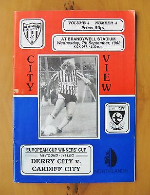 DERRY CITY v CARDIFF CITY ECWC 1988/1989 *VG Condition Football Programme*
