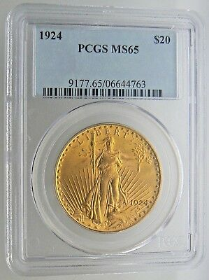 1924 $20 PCGS MS 65 St. Gaudens Double Eagle Gold Coin