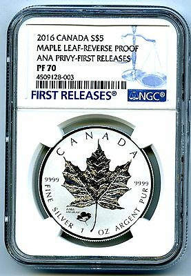 2016 $5 Canada Silver Maple Leaf Ngc Pf70 Anaheim Ana Poppy Privy Rev Proof Fr