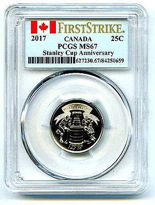 2017 Canada 25 Cent Pcgs Ms67 Stanley Cup Quarter First Strike 125Th Anniversary