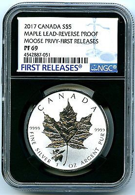 2017 $5 Canada 1Oz Silver Maple Leaf Ngc Pf69 Moose Privy Rev Proof Error Label!