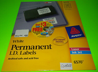 Avery 6570 Permanent ID Labels, Inkjet/Laser 1 1/4 x 1 3/4  White 480/Pack