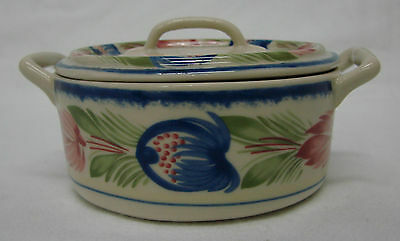 Pottery Covered Bowl Decorative Flower Floral Handled Crock Dish