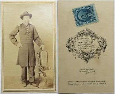 Original Civil War Federal Officer Standing Full View CDV Washington, DC
