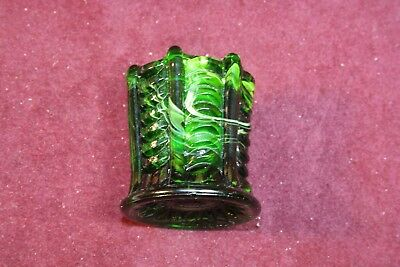 Collectible Green Slag Toothpick Holder - Draped Ribs w/ Columns - Maker Unknown