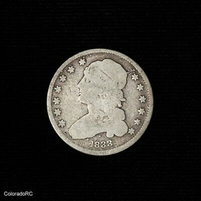 1833 U.S. Mint Capped Bust Silver Quarter Dollar in AG/G Condition