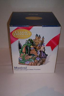 """Wizard With Dragon, Musical Water Fountain, """"classic Treasures"""" Collection"""
