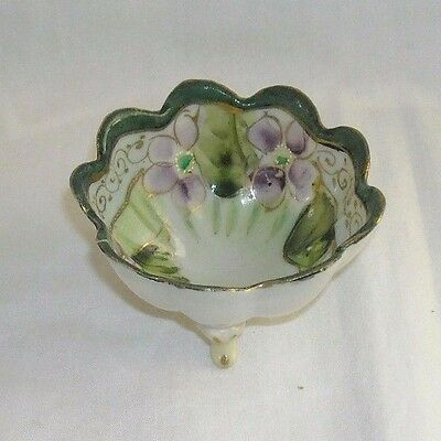 Vintage Small 3 Footed Scallop Bowl Viola Flowers Signed Japanese / Chinese ?