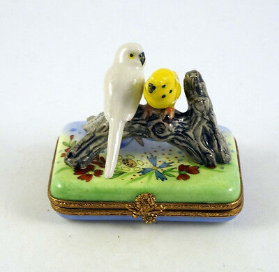 New Parakeet French Limoges Trinket Box Parakeets Budgie Budgerigars In Garden