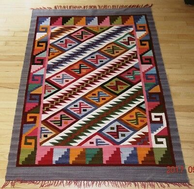 """(J16): 100% Wool Rug Native American Graphic 58""""x42"""" Smaller Area"""