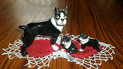 Vintage Black & White Boxer Dog Family Chained Figurines Mother w Puppies