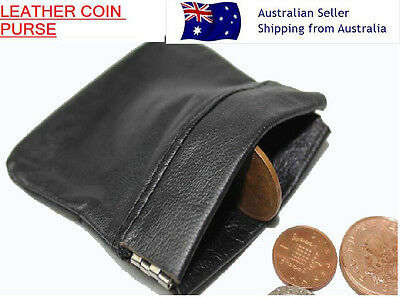 Pocket Spring MENS LADIES BLACK REAL LEATHER COIN change POUCH WALLET PURSE snap