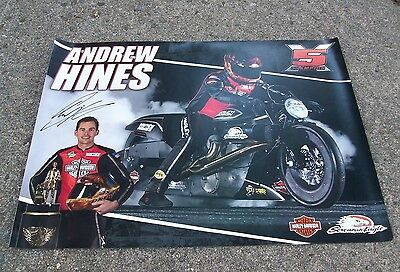 NHRA Andrew Hines Signed Autographed Harley Davidson Screamin Eagles Poster 2017