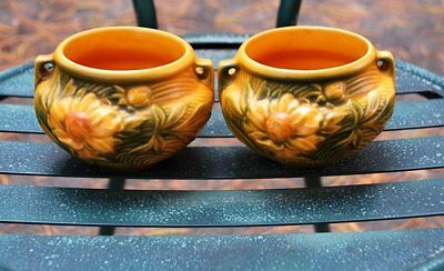 Vintage Roseville Pottery Pair Of Small Planters Golden Peony 661-3""