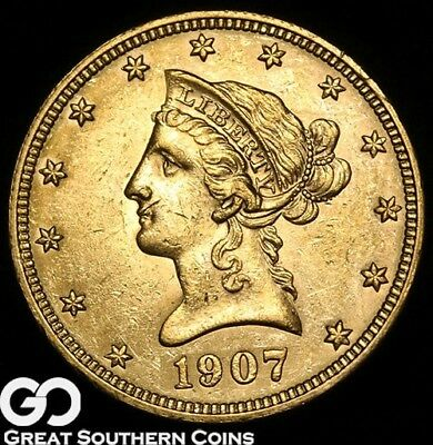 1907 Eagle, $10 Gold Liberty, Sharp Strike, Lustrous Beauty ** Free Shipping!