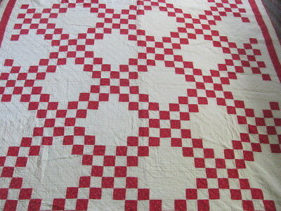 Antique red white Double Irish Chain cotton quilt