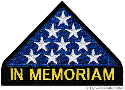 IN MEMORIAM PATCH - MILITARY KIA HONOR iron-on embroidered veteran AMERICAN FLAG