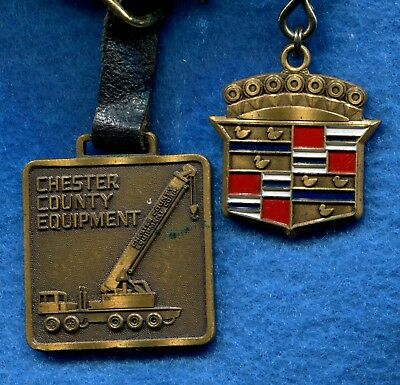 WEST CHESTER PA Adv Cadillac Shield Keychain & Chester Co Equip Crane Watch Fob