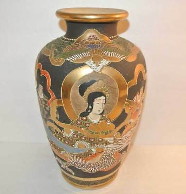 WE HAVE PAIR Early 20thc ANTIQUE Japanese MORIAGE SATSUMA DRAGON Gold Gilt VASE