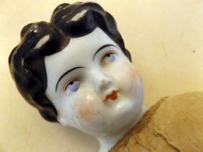 Antique Hand Painted China/Porcelain Head Doll for Parts or Repair c1880s