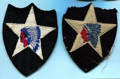 2 Different WWII SHOULDER PATCHES 2nd Infantry Division * Indian Chief * 1 WOOL