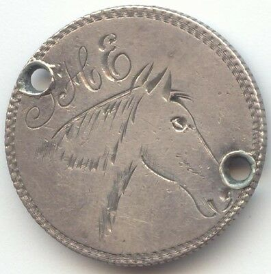 1883 Seated Liberty Dime Pictorial Love Token, Horse, Initials S H E