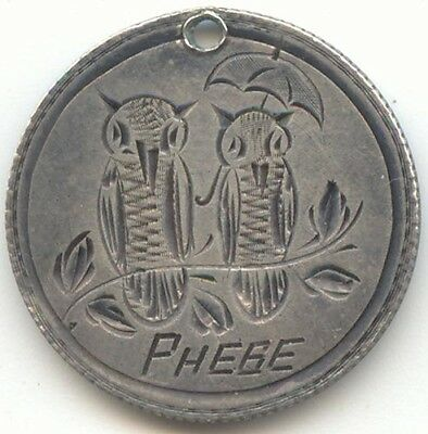 1888 Seated Liberty Dime Pictorial Love Token, 2 Birds on a Branch, Name Phebe