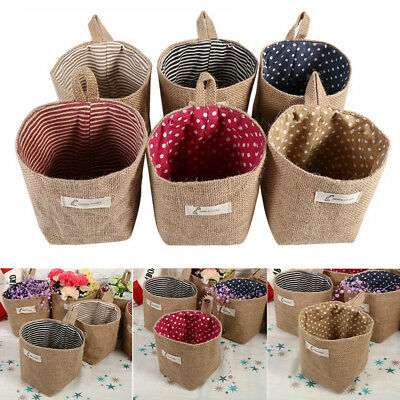 Mini Jute Hanging Storage Bag Pouch Basket Laundry Container Home Supply Fashion