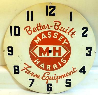 """Vtg 14"""" Massey Harris Electric Wall Clock Face/Dial Part Painted Steel c1950s"""