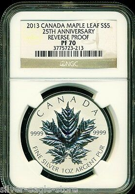 2013 $5 1 Oz Canada Silver Maple Leaf Ngc Pf70 Reverse Proof 25Th Anniversary Pr