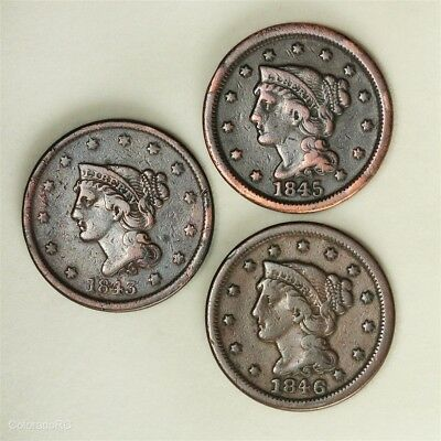 Lot of Three U.S. Mint Braided Hair Large Cents - 1843, 1845, 1846 Dates