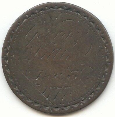 2 Sided Copper Love Token? George Little Dec 3, 1777, Mary Parkinson