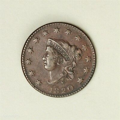 1820 U.S. Mint Coronet Head Large Cent, Large Date, in XF+ Condition
