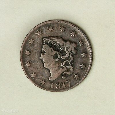 1817 U.S. Mint Coronet Head Large Cent, 13 Stars, in F+ Condition