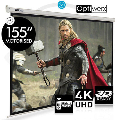"""155"""" Electric Motorised Projector Screen Home Theatre HD TV Projection"""