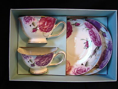 Beautiful Delicate Fine Bone China FLORAL PAIR Teacup and Saucer Sets