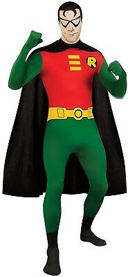 DC Comics Adult Robin 2nd Skin Zentai Super Suit, Green/Red, Large Costume