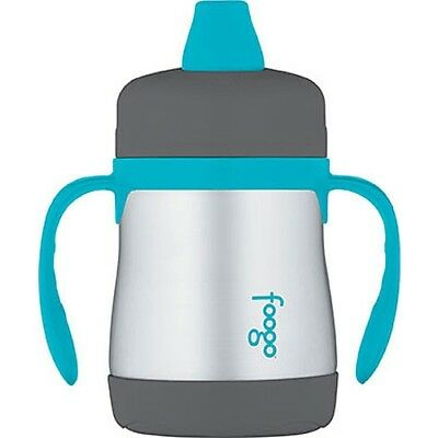 Thermos Foogo 210 ml Stainless Steel Sippy Cup With Handles - Charcoal with Teal
