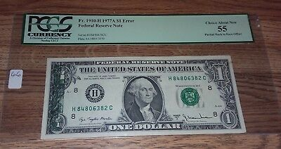 1977 A $1 Dollar Offset Back To Face Print Error Note Currency Paper Money