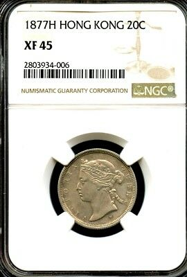 Hong Kong 1877 H,  Silver 20 Cent,  Queen Victoria, Heaton Mint, NGC graded XF45