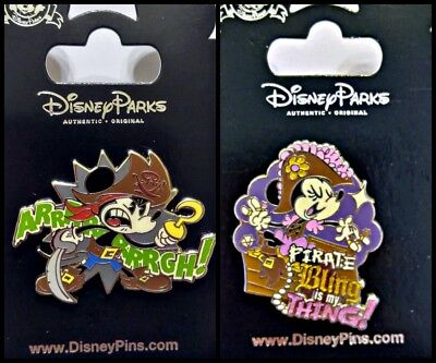 Disney Parks 2 Pin Lot PIRATES OF CARIBBEAN Mickey & Minnie Bling is my Thing