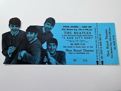 1964 The Beatles A Hard Day's Night Movie Full Unused Ticket Near Mint Condition